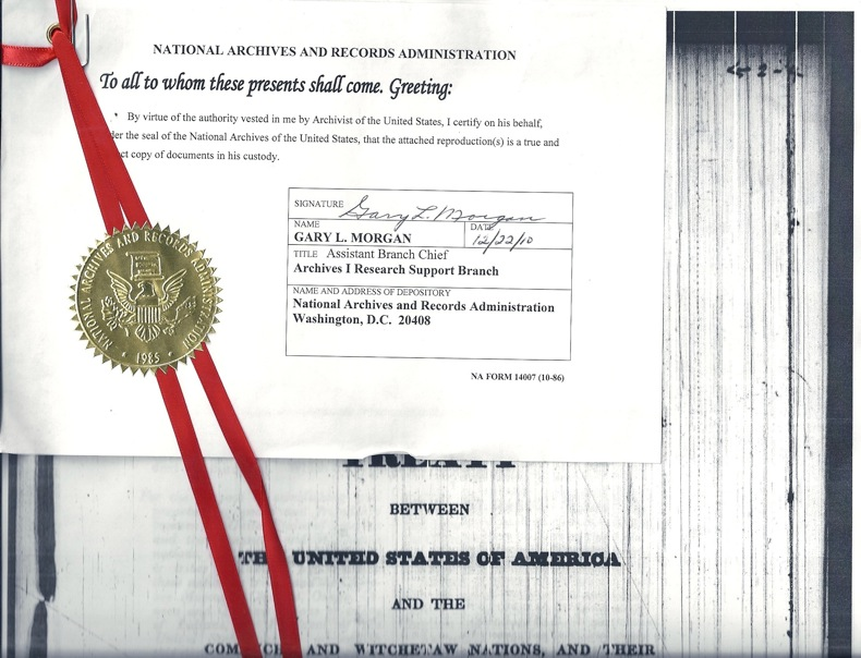 NATIONAL ARCHIVES TREATY WITH UNITED STATES & WITCHETAW